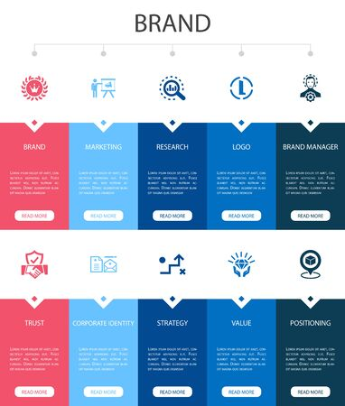 brand Infographic 10 option UI design.marketing, research, brand manager, strategy simple icons Ilustração