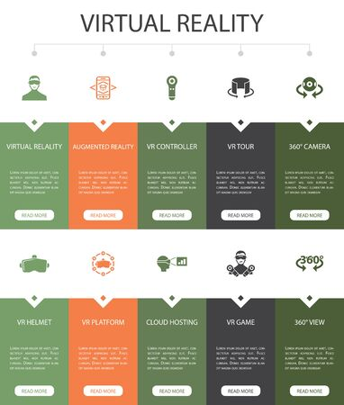 virtual reality Infographic 10 option UI design. VR helmet, Augmented reality, 360 view, VR controller simple icons