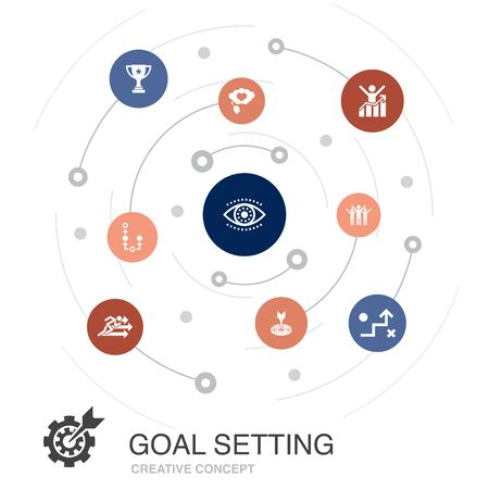 goal setting colored circle concept with simple icons. Contains such elements as dream big, action, vision, strategy
