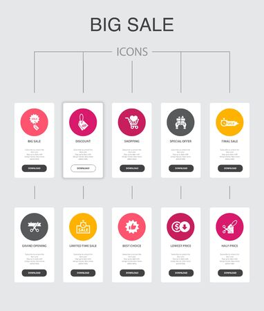 big sale Infographic 10 steps UI design.discount, shopping, special offer, best choice simple icons Stock Illustratie