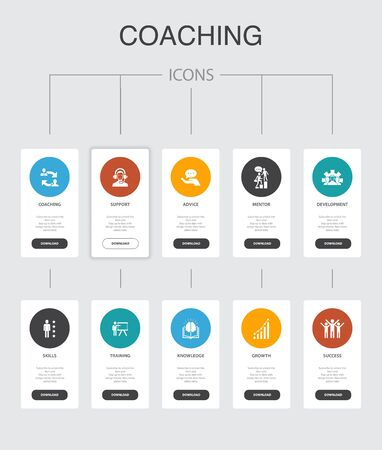 coaching Infographic 10 steps UI design.support, mentor, skills, training simple icons Ilustrace