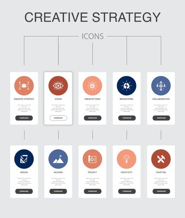Creative Strategy Infographic 10 steps UI design. vision, brainstorm, collaboration, project simple icons Ilustração