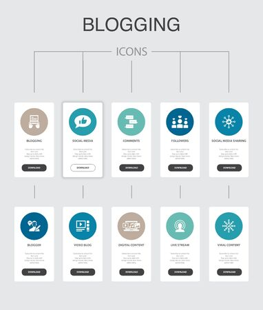blogging Infographic 10 steps UI design.social media, Comments, Blogger, digital content simple icons Stock Vector - 132574465