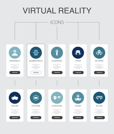 virtual reality Infographic 10 steps UI design.VR helmet, Augmented reality, 360 view, VR controller simple icons