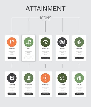 attainment Infographic 10 steps UI design.goal, leadership, objective, teamwork simple icons