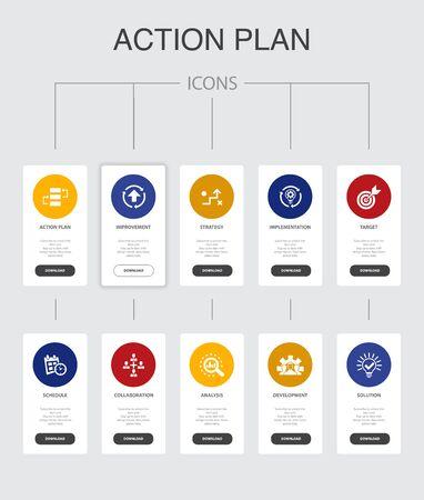 action plan Infographic 10 steps UI design.improvement, strategy, implementation, analysis simple icons Vecteurs