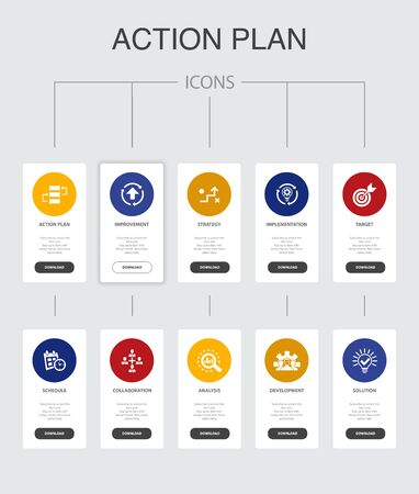 action plan Infographic 10 steps UI design.improvement, strategy, implementation, analysis simple icons Illustration
