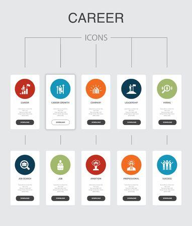 Career Infographic 10 steps UI design.company, leadership, hiring, job search simple icons