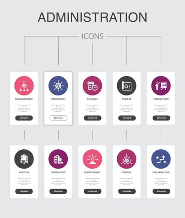administration Infographic 10 steps UI design.management, schedule, presentation, corporation simple icons 向量圖像
