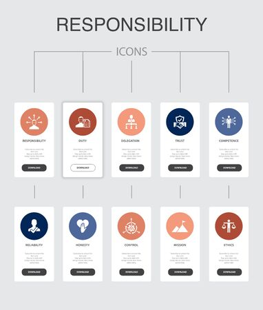 responsibility Infographic 10 steps UI design.delegation, honesty, reliability, trust