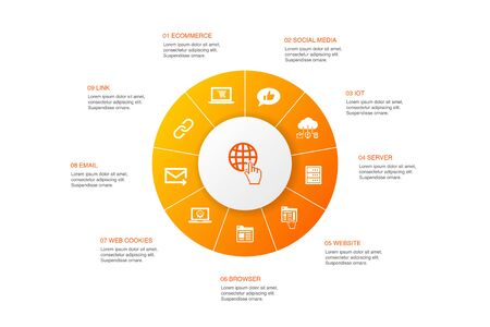 internet Infographic 10 steps circle design. ecommerce, social media, website, Email icons Illustration