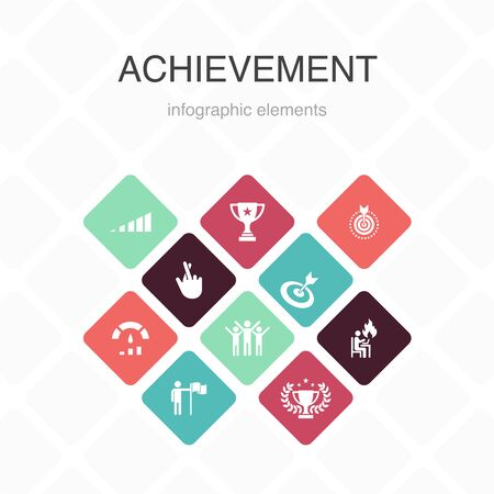 achievement Infographic 10 option color design.progress, performance, goal, success simple icons