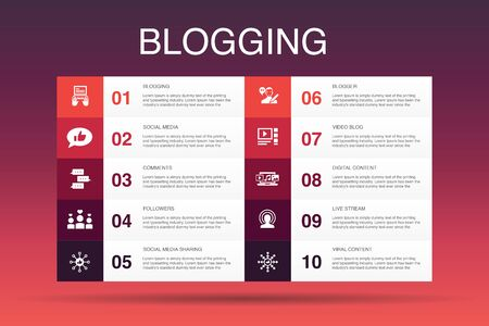 blogging Infographic 10 option template.social media, Comments, Blogger, digital content simple icons Stock Vector - 132646394