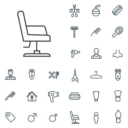 barbershop outline, thin, flat, digital icon set for web and mobile. Stok Fotoğraf - 132583132