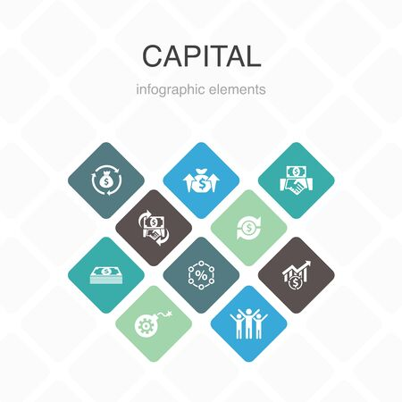 capital Infographic 10 option color design.dividends, money, investment, success simple icons