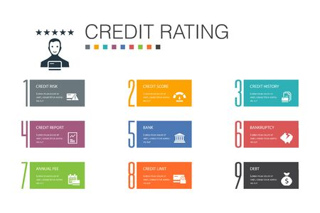 credit rating Infographic 10 option line concept.Credit risk, Credit score, Bankruptcy, Annual Fee 写真素材 - 132646410
