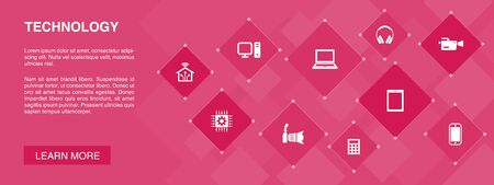 Technology banner 10 icons concept.smart home, photo camera, tablet computer, smartphone simple icons 스톡 콘텐츠 - 132646413