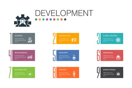 Development Infographic 10 option line concept.global solution, knowledge, investor, Brainstorming simple icons