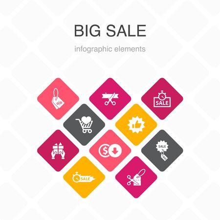 big sale Infographic 10 option color design.discount, shopping, special offer, best choice simple icons