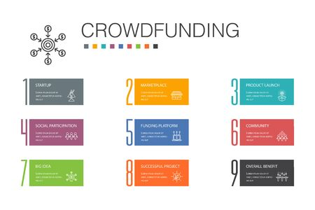 Crowdfunding Infographic 10 option line concept.startup, product launch, funding platform, community icons