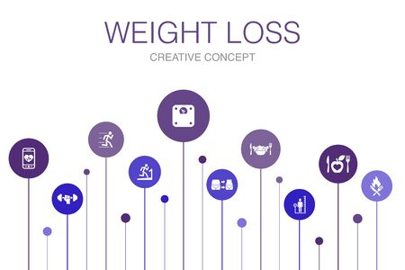 weight loss Infographic 10 steps template.body scale, healthy food, gym, diet icons