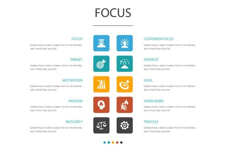 focus Infographic 10 option template.target, motivation, integrity, process icons