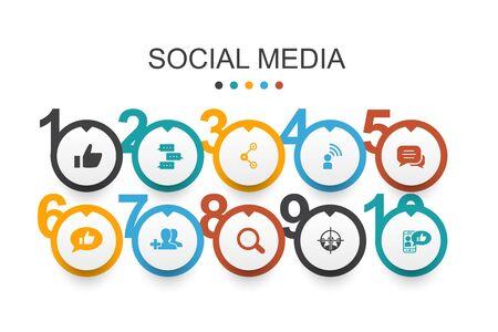 Plantilla de diseño de infografía de redes sociales como, compartir, seguir, comentarios iconos simples