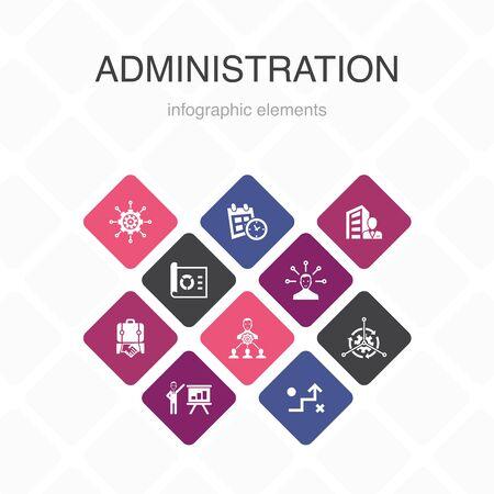 administration Infographic 10 option color design.management, schedule, presentation, corporation simple icons