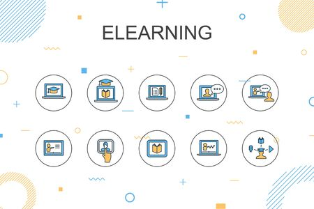 eLearning trendy Infographic template. Thin line design with Distance Learning, Online Training, Video training, Webinar