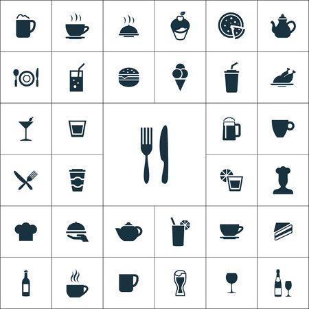 kawiarnia ikony uniwersalny zestaw dla sieci web i mobile. Ilustracje wektorowe