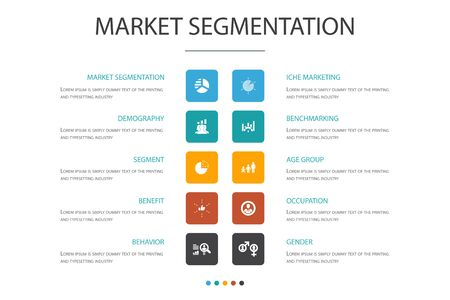 market segmentation Infographic cloud design template.demography, segment, Benchmarking, Age group simple icons