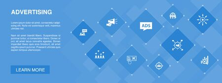 Advertising banner 10 icons concept.Market research, Promotion, Target group, Brand Awareness simple icons  イラスト・ベクター素材