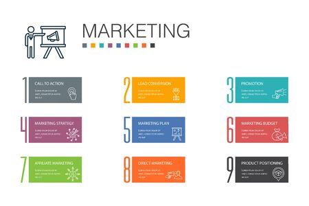 marketing Infographic 10 option line concept. call to action, promotion, marketing plan, marketing strategy simple icons Banco de Imagens - 132646510