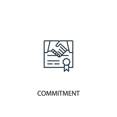commitment concept line icon. Simple element illustration. commitment concept outline symbol design. Can be used for web and mobile UI Ilustração