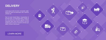 Delivery banner 10 icons concept.return, package, courier, express delivery simple icons Ilustracja