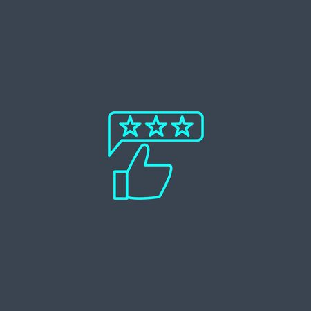 review concept blue line icon. Simple thin element on dark background. review concept outline symbol design. Can be used for web and mobile UI