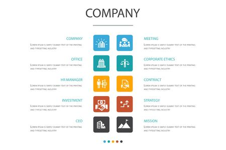 company Infographic 10 option concept.office, investment, meeting, contract simple icons Illustration