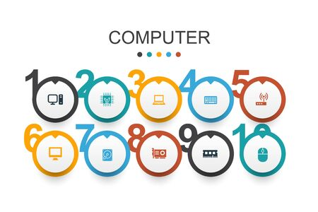 ComputerI nfographic design template CPU, Laptop, Keyboard, hard drive simple icons