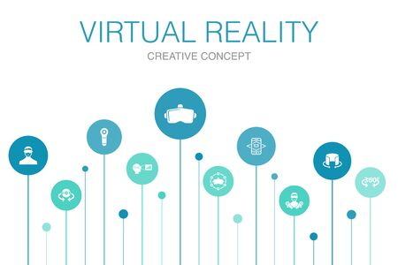 virtual reality Infographic 10 steps template.VR helmet, Augmented reality, 360 view, VR controller simple icons