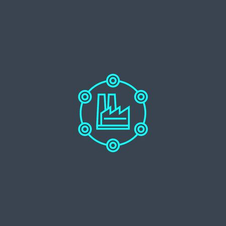 Industry 4.0 concept blue line icon. Simple thin element on dark background. Industry 4.0 concept outline symbol design. Can be used for web and mobile UI