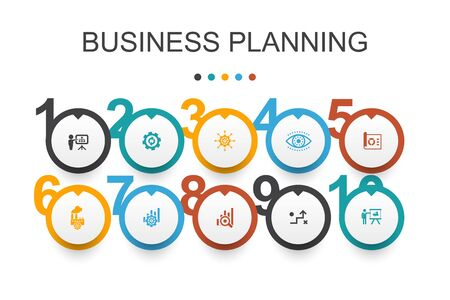 Business planning Infographic design template.management, project, research, strategy simple icons Standard-Bild - 132586393