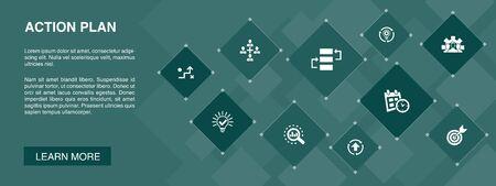 action plan banner 10 icons concept.improvement, strategy, implementation, analysis simple icons Vektoros illusztráció