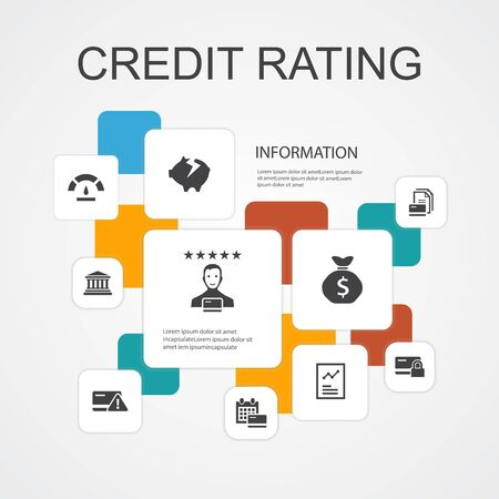 credit rating Infographic 10 line icons template. Credit risk, Credit score, Bankruptcy, Annual Fee 写真素材 - 132646841