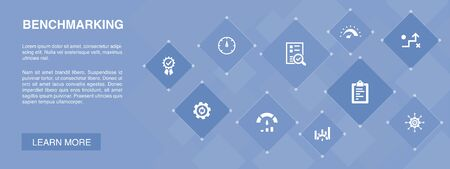 benchmarking banner 10 icons concept.process, management, indicator simple icons