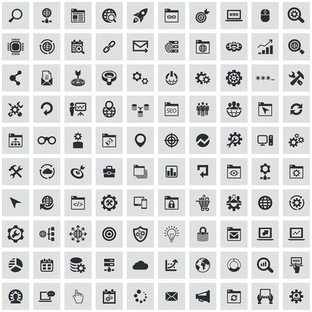 seo 100 icons universal set for web and mobile.
