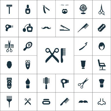 barbershop icons universal set for web and mobile. Illustration