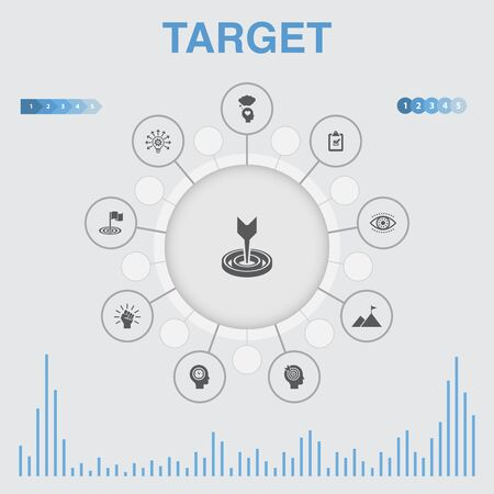 target infographic with icons. Contains such icons as big idea, task, goal, patience