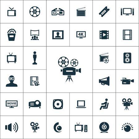 cinema icons universal set for web and mobile. Illustration