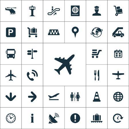 aeropuerto iconos conjunto universal para web y móvil.