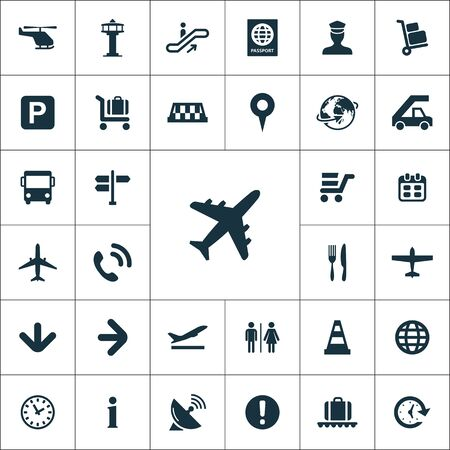 airport icons universal set for web and mobile. 일러스트